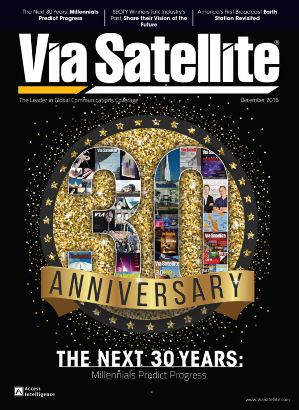 Via Satellite 30th anniversary magazine cover