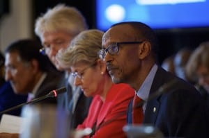 Paul Kagame expresses his views during the 8th meeting of the Broadband Commission. Photo: ITU