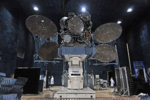 SES 5 in the compact antenna test range at Space Systems/Loral. Photo: SSL
