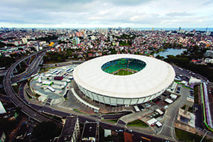 Brazil has heavily invested on infrastructure projects for the upcoming 2014 FIFA World Cup. The Itaipava Arena Fonte Nova is a new 591.7 million Brazilian Real ($261.9 million) football-only stadium built in Brazil under FIFA standards for the 2013 FIFA Confederations Cup and the 2014 FIFA World Cup. Credit: ME/ Portal da Copa