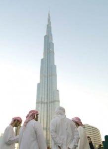 Arabs below the Burj Khalifa
