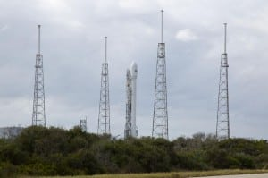 SpaceX Falcon 9 on the launch pad at Cape Canaveral with the SES 8 satellite