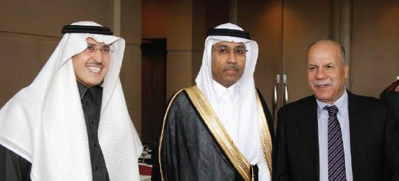 Ahmad-Al-Shraideh, sirector, technical planning; Khalid Balkheyour; and Salem Al-Khalifah, VP financial services