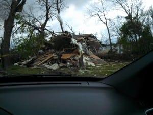 A destroyed building following the tornado that struck Baxter Springs, Kansas. Photo: GATR