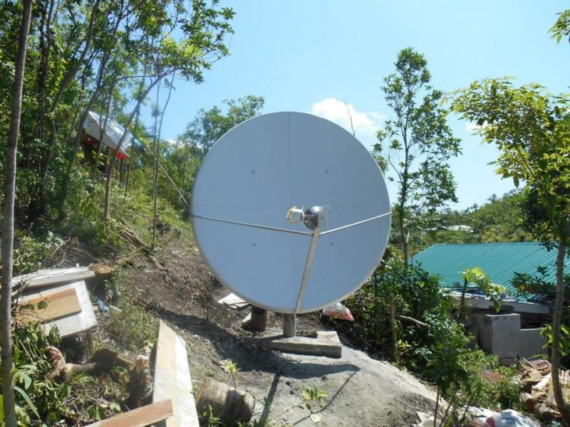 A Disaster Tech Lab satellite dish installed in the Philippines. Photo: Disaster Tech Lab