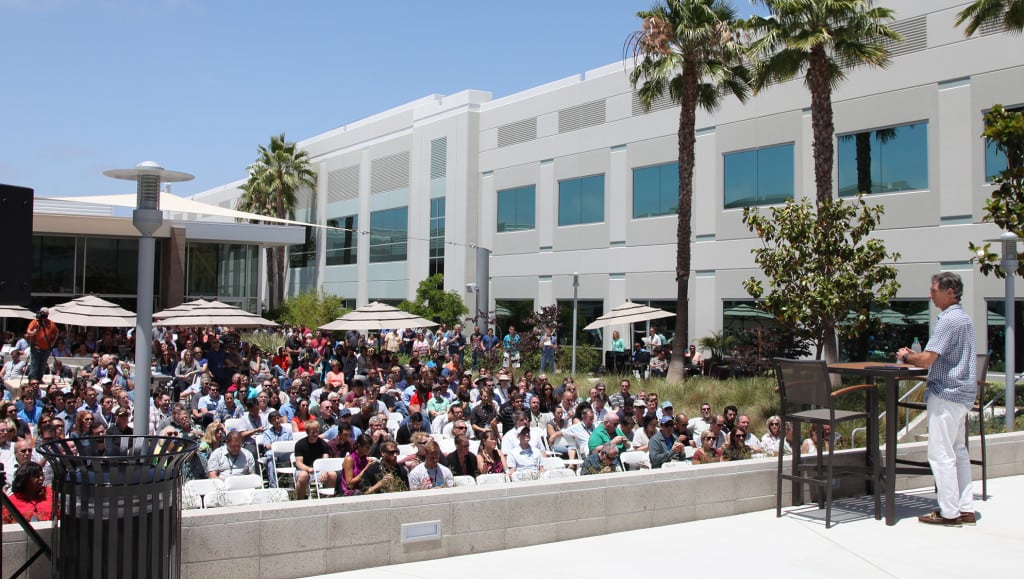 Dankberg speaking to an all-hands meeting this month at ViaSat's Carlsbad campus.