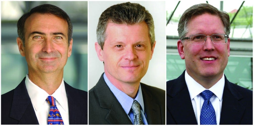 Intelsat top executives (from left to right): Stephen Spengler, president and CCO, Thierry Guillemin, EVP and CTO, and David McGlade, Chairman and CEO. Photos courtesy of Intelsat.