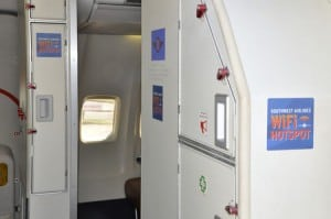 Southwest plane equipped with in-flight connectivity.
