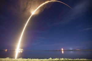 Falcon 9 lifts off carrying the Asiasat 6 satellite.