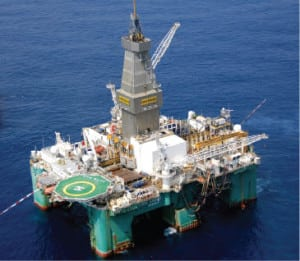 Eirik Raude semi-submersible rig operating on the Jubilee Field. Photo: Tullow Oil.