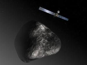 Artist's rendition of Rosetta as it neared the comet 67P  67P/Churyumov–Gerasimenko