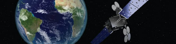 Artist rendition of  the Al Yah 3 satellite.  Photo courtesy  of Yahsat.