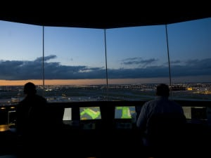 Inside view of an Air Traffic Control tower