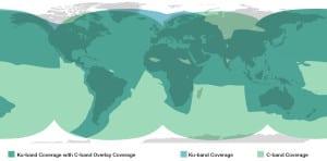 Mini-VSAT Broadband Coverage in Ku band and C band Map. Photo: KVH Industries