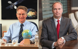 Orbital Sciences President and CEO David Thompson on the left, and ATK President and CEO Mark DeYoung on the right