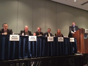"Panelists at Monday's SATELLITE 2015 session, ""This is Not Your Grandfather's Satellite."""