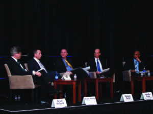 """Panelists at Tuesday's SATELLITE 2015 panel, """"Spacecraft Repurposing Debate: Proponents and Skeptics Go Head-to-Head."""" Photo: Vincent Lim."""