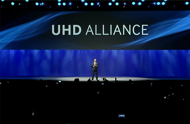 Samsung's Executive Vice President for North America, Joe Stinziano, introduces UHD Alliance at CES 2015