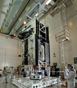 The first Space Based Infrared System (SBIRS) geosynchronous orbit (GEO-1) spacecraft in preparation for final factory work at Lockheed Martin's facilities in Sunnyvale, Calif.