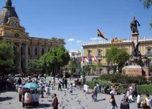 View of the Plaza Pedro Di Murillo in downtown La Paz.