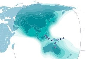 The AsiaSat 4 satellite's C-band footprint.