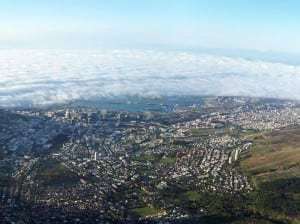 View of Cape Town, South Africa from Table Mountain.