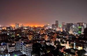 Night skyline of Dhaka, capital city of Bangladesh.