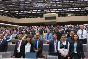 WRC-15 Plenary on global flight tracking ITU