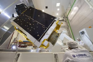 Telesat's first high throughput satellite, Telstar 12 Vantage, before shipping to the launch site.