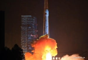 Photo taken on Dec. 29, 2015 shows the Long March-3B carrier rocket is launched with the Gaofen-4 Satellite in Xichang of southwest China's Sichuan Province