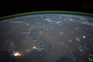 India-Pakistan Border at Night. Photo: NASA