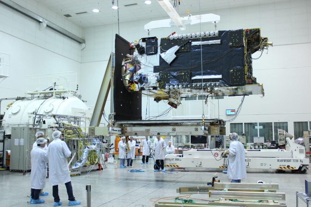 Spacecom Amos 6 satellite in production