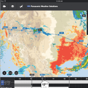 4DAero EFB application built upon the Panasonic 4D Weather platform. Photo: Panasonic Weather Solutions