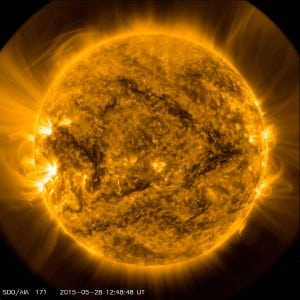The sun, imaged in a wavelength of extreme ultraviolet light. Photo: Solar Dynamics Observatory, NASA.