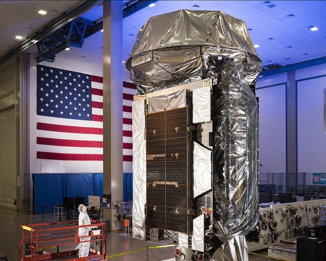 The fifth satellite of the U.S. Navy's Mobile User Objective System (MUOS-5) at Lockheed Martin's Sunnyvale, California satellite manufacturing facility