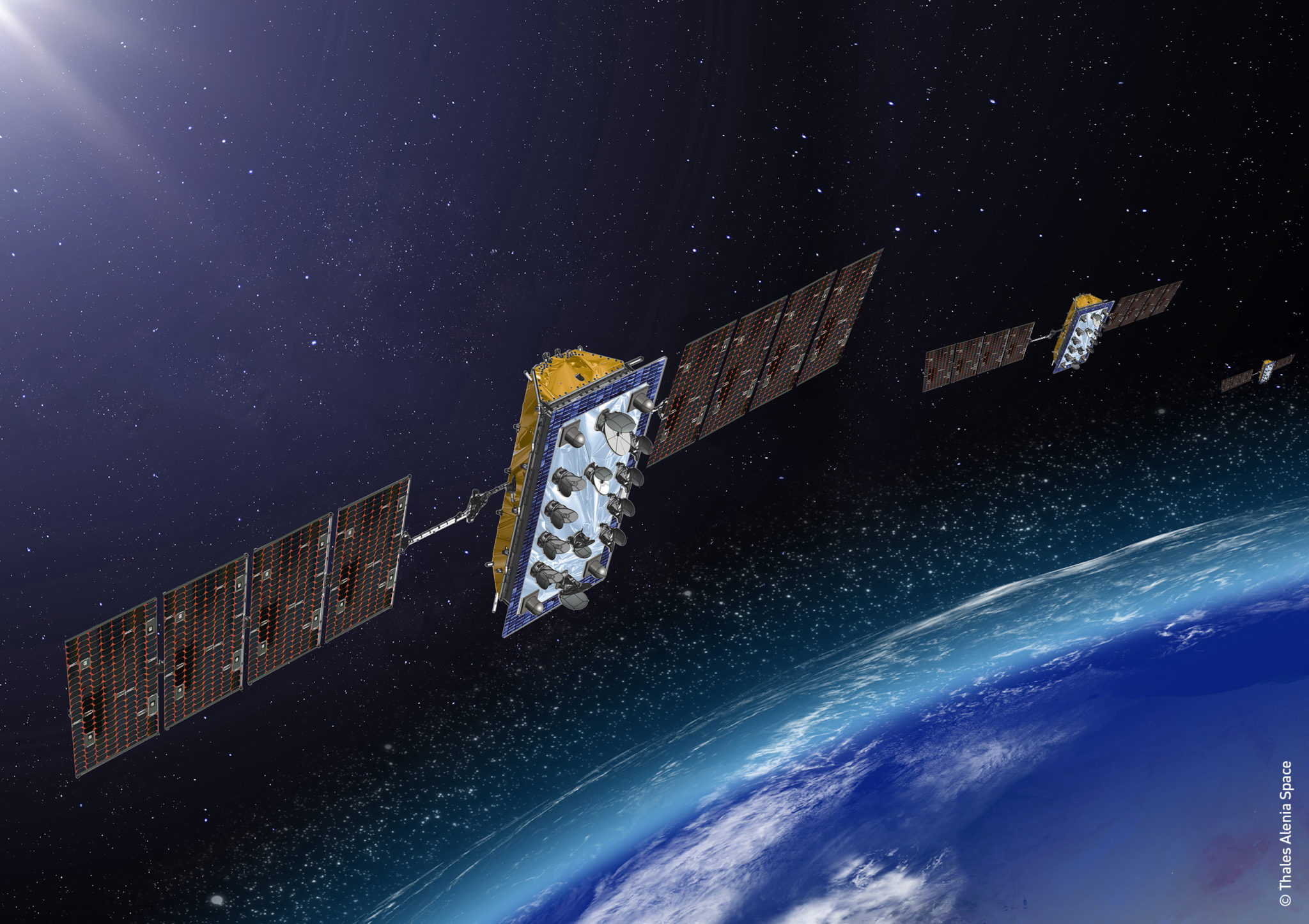 Artist rendition of LeoSat satellites.