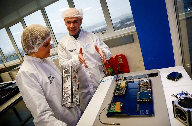 Clyde Space CEO Craig Clark with Scottish First Minister Nicola Sturgeon during a visit to the Clyde Space facilities.