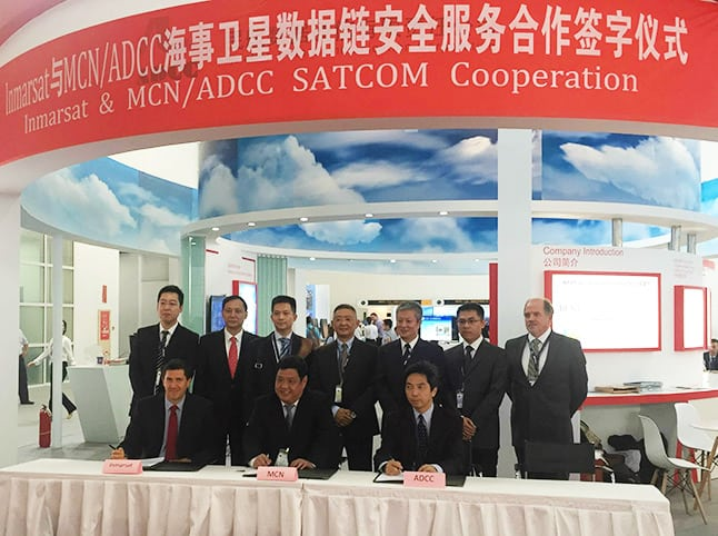 Seated from left to right: Otto Gergye, Inmarsat Aviation's Vice President of Airline Market Development, Song Zhen, MCN Vice President, and Zhu Yanbo, ADCC Vice President, are joined by colleagues to celebrate the signing of a MoU at ATC Global in China