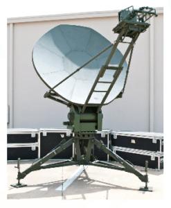 2.4 meter nine-piece reflector nomadic antenna on tactical mount. Photo: CPI