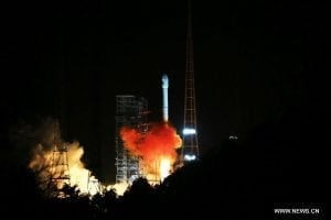 The Tianlian I-04 satellite launching from the Xichang Satellite Launch Center in Xichang, southwest China's Sichuan Province, Nov. 22, 2016. Photo: Xinhua/Du Cai