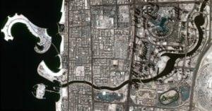 DubaiSat 2-captured image of the Dubai Water Canal full of water. Photo: Mohammed bin Rashid Space Center
