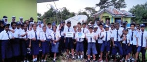 Indonesian school children that now have access to broadband through PSN and Newtec's Dialog tech. Photo: Newtec