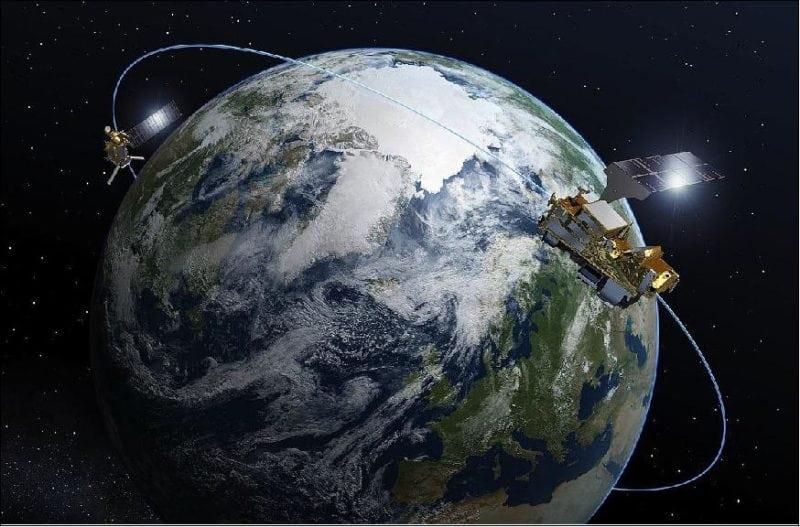 Artist's rendition of the MetOp-SG spacecraft in orbit.