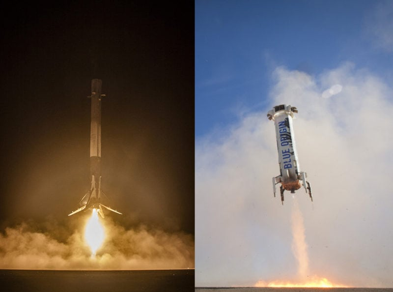 A SpaceX Falcon 9 first stage landing and a Blue Origin suborbital New Shepard launch vehicle landing
