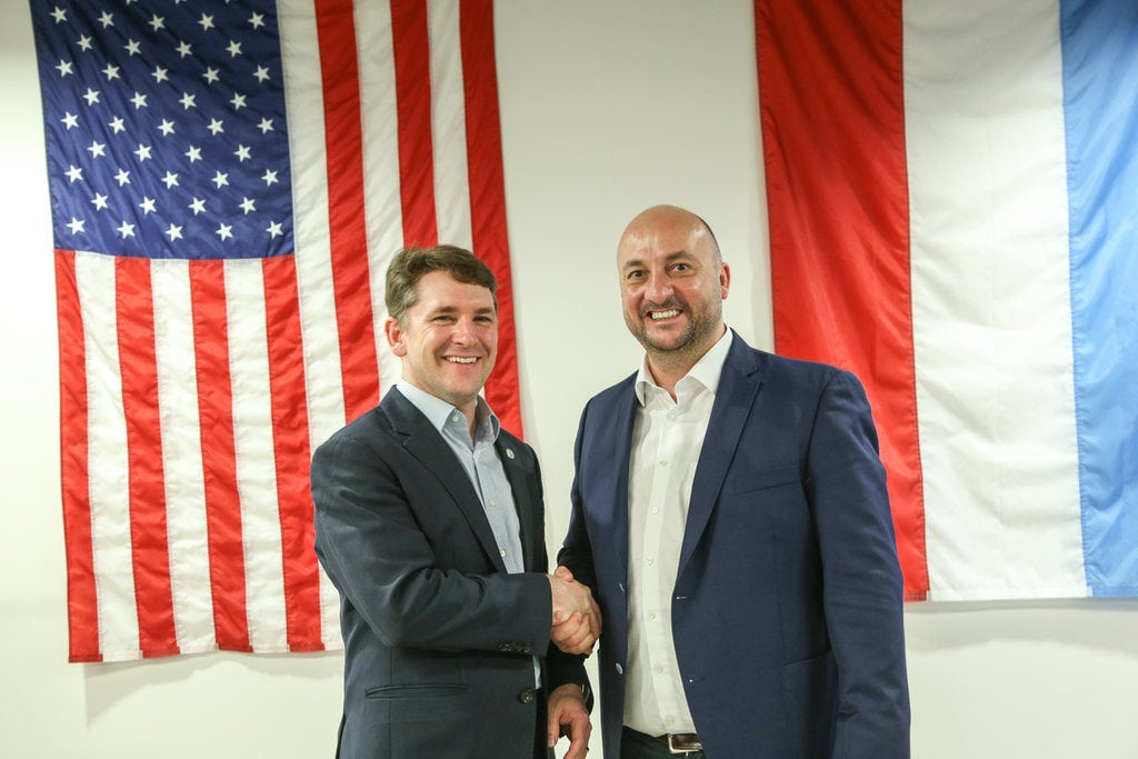 Planetary Resources' CEO Chris Lewicki and Luxembourg's Deputy Prime Minister Étienne Schneider