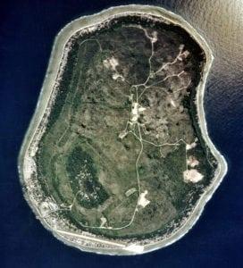 Aerial view of the island of Nauru.