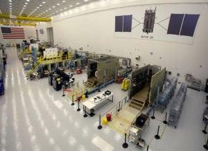 GPS III satellites in production at Lockheed Martin's GPS III Processing Facility near Denver, Colorado. Photo: Lockheed Martin