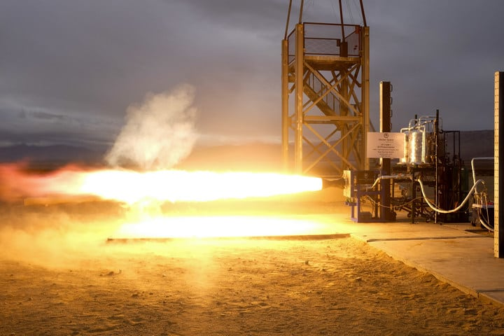 Image of Vector's successful December 8th 2016, 1st stage engine test with a 3D printed injector jointly developed with NASA on flight fuels (Propylene/LOX)