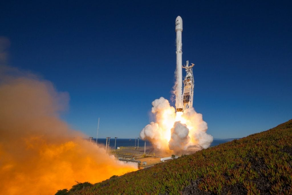 SpaceX launches 10 Iridium satellites onboard a Falcon 9 rocket on Jan. 14, 2017.