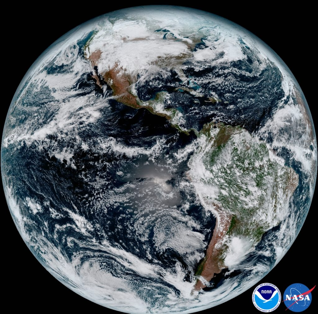 Composite color of Earth capture by GOES-16.